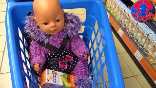 Ярослава КАК МАМА покупает продукты в Супермаркете с Куклой Беби Бон Видео для детей Doll Baby Born