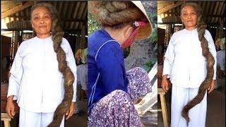Kỳ lạ mái tóc dài 2m, khi dài tự động kết thành búi cứng... như đá