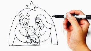How to draw a Nativity Scene Step by Step