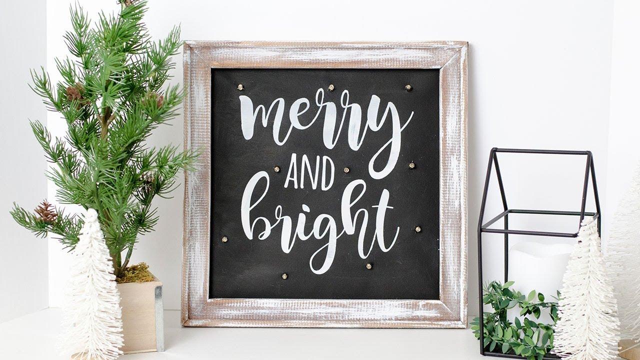 Diy Farmhouse Christmas Reverse Canvas Sign With Fairy Lights Simply Dovie Youtube