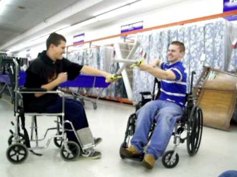 wheelchair fight exterior rocking chairs sword youtube
