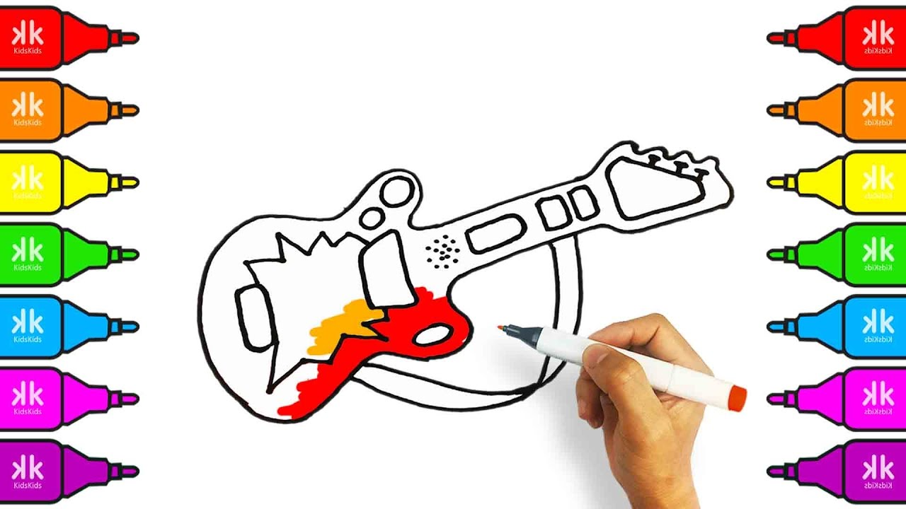 how to draw cute guitar coloring pages for kids colouring book with colored markers - Colouring Book For Kids