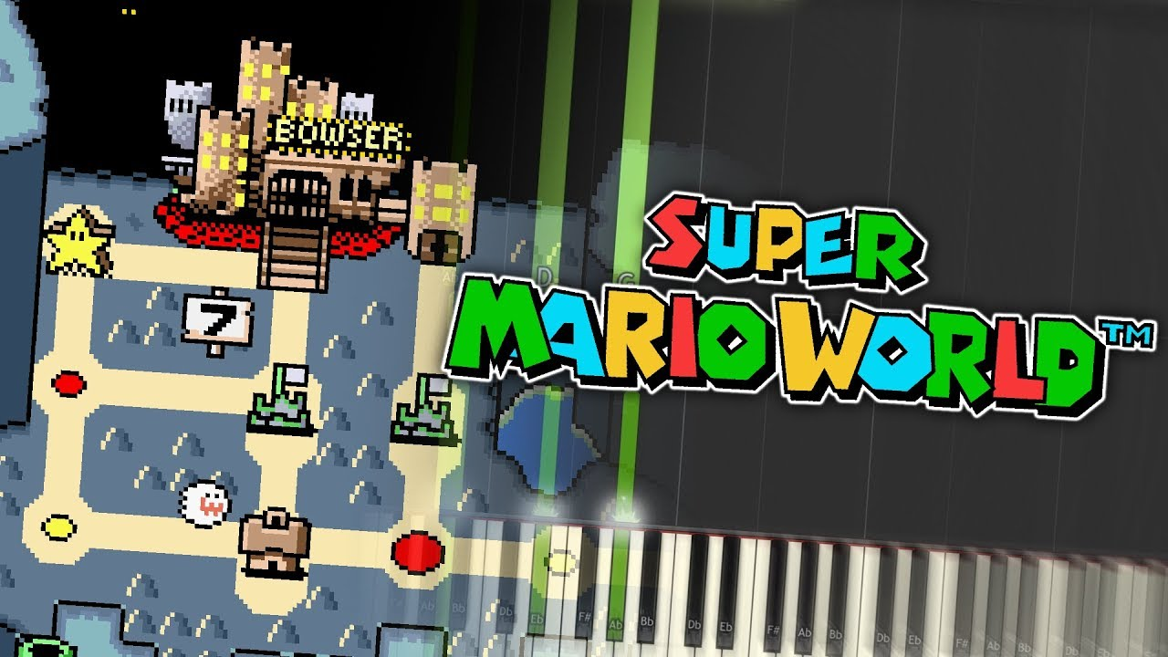 Super Mario World Map 6 Bowser Castle Theme Piano Tutorial Synthesia