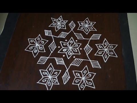 muggulu with 13 dots || 13 chukkala muggulu || dot rangoli 13 7 || 13 dots rangoli designs from YouTube · Duration:  3 minutes 39 seconds