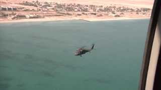Awesome Aerial Footage of Black Hawk Helicopters Flying Over Kuwaiti Desert and Arabian Gulf