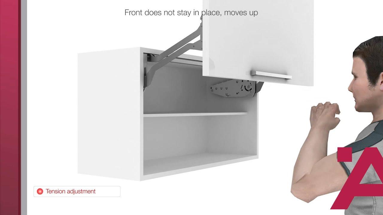 Relevant Häfele Free up pour meuble à façade sur le dessus