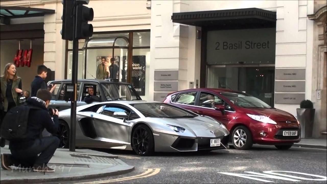 Arab Lamborghini Aventador Driving Doors Up In London