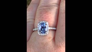 2 Carat Cushion Violet Blue Ceylon Sapphire in White Gold Diamond Halo Engagement Ring