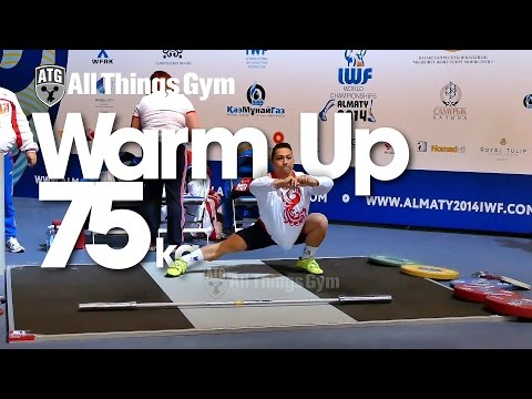 75kg Warm up Almaty 2014 World Weightlifting Championships