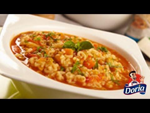 Sopa minestrone con Letras Doria