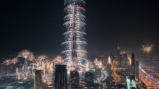 HD Burj Khalifa & Downtown Dubai 2016 New Year's fireworks - Showsim 3d