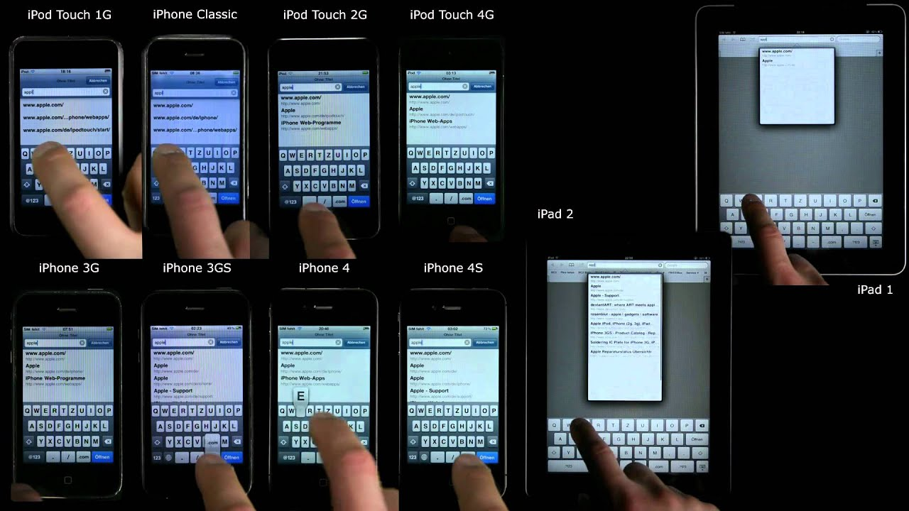 IPhone 4S Vs 4 3GS 3G Classic IPod Touch 1 2 IPad Speed Comparison Test