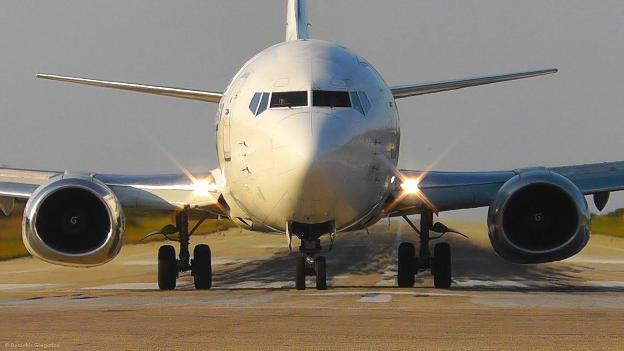 aviolet boeing 737-300 landing & takeoff @ skiathos, the second st