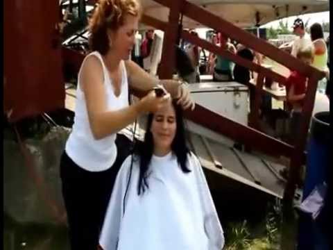Head shave of 10 different girls
