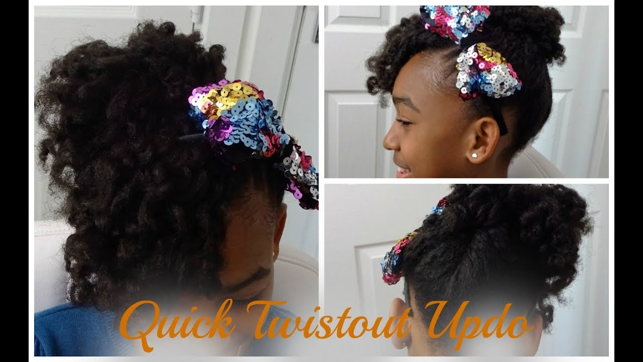Flat Twistout Updo W Curly Bang Tutorial Kids Natural Hairstyle