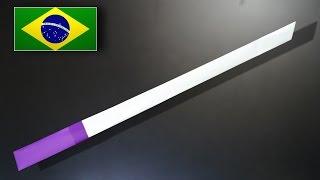 Origami: Espada Simples / Katana - Instruções em Português PT BR