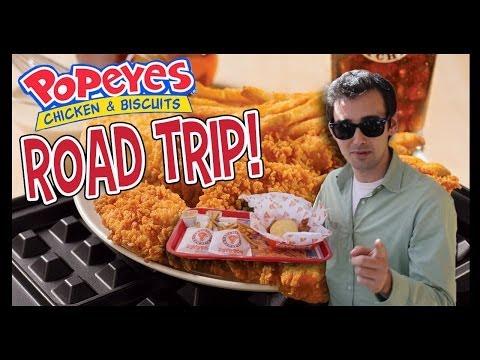 Popeye's Chicken and Waffle Tenders Road Trip! - Food Feeder