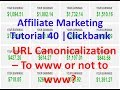 Affiliate Marketing Tutorial 40 | Clickbank | URL Canonicalization – To www or not to www?