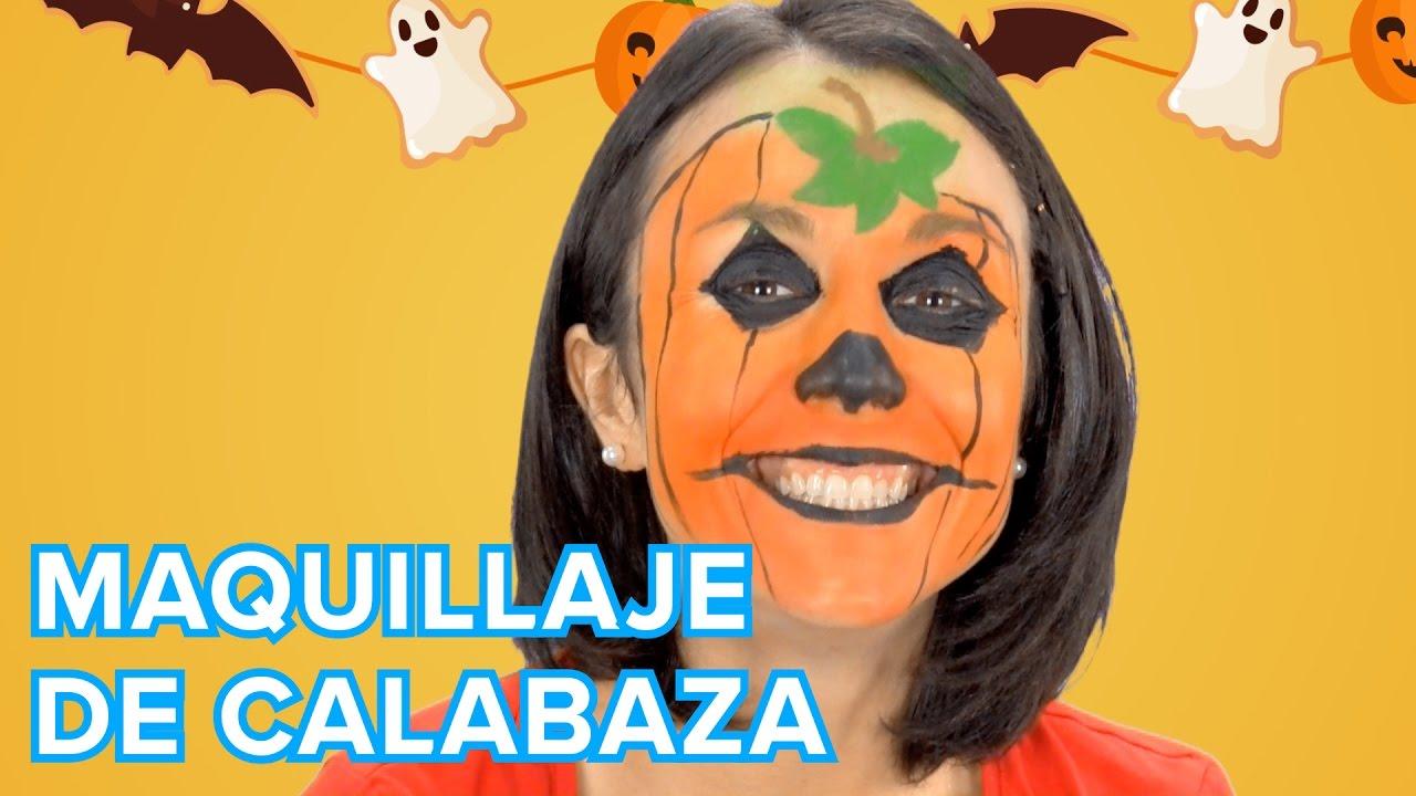 Calabaza de halloween maquillaje para ni os youtube for Pinturas de cara para halloween
