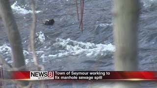 DEEP cleaning up sewage spill