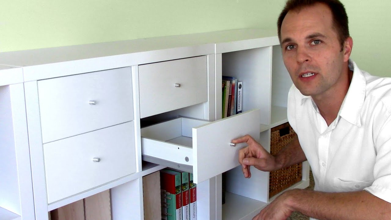 Ikea Trones Schuhschrank Gebraucht ~ How to assemble Ikea bookshelf drawers  EXPEDIT KALLAX shelf