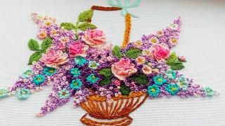 Hand Embroidery : Basket of flowers  Вышивка: Корзина с цветами