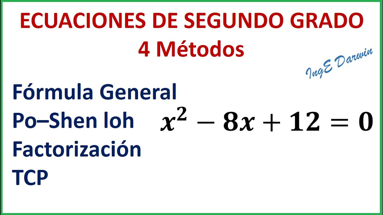 4 Métodos Para Resolver Ecuaciones De Segundo Grado De Forma Sencilla Youtube