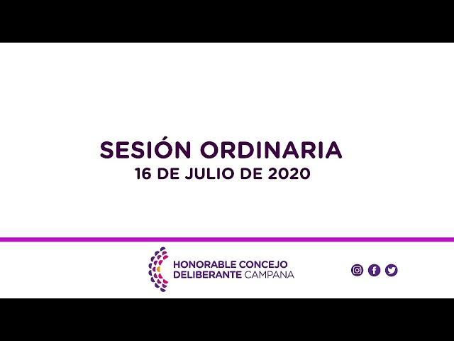 Sesión Ordinaria, 16 de Julio de 2020.