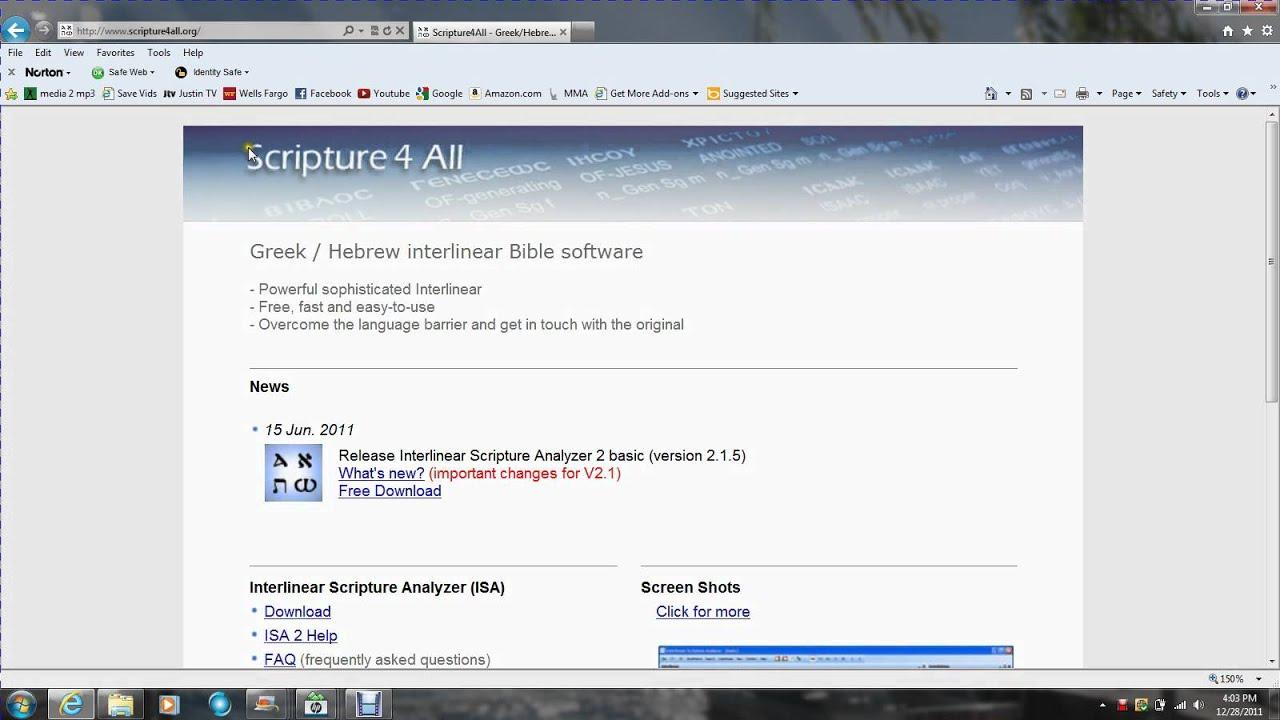Free Bible Interlinear Scripture Analyzer (ISA)