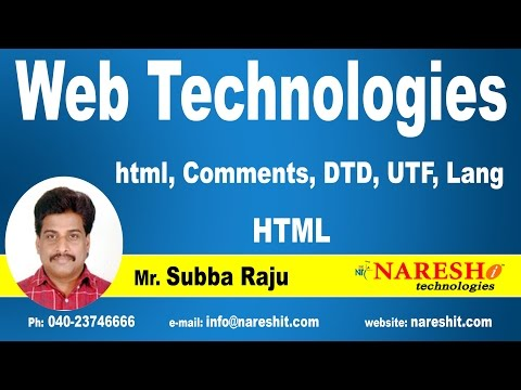 HTML - Comments, DTD, UTF, Lang | Web Technologies Tutorial