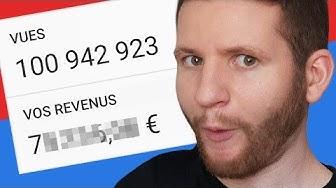 Combien j'ai gagné avec 100M vues sur YouTube