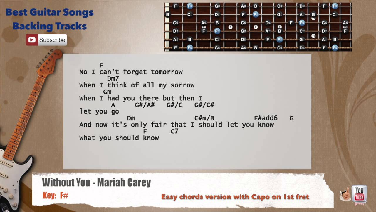 Without you mariah carey guitar backing track with scale chords without you mariah carey guitar backing track with scale chords and lyrics hexwebz Image collections