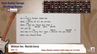 Without You - Mariah Carey Guitar Backing Track with scale, chords and lyrics