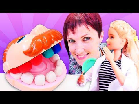 Барби стоматолог - Маша Капуки и Барби лечат зубы мистеру Зубастику - Видео для детей