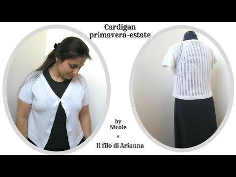 premium selection e0220 09995 Cardigan top down primavera - estate ai ferri - YouTube