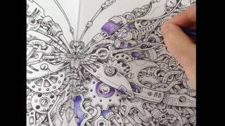 Imagimorphia - coloring with inktense pencils + Zig blender pen - tutorial part 1