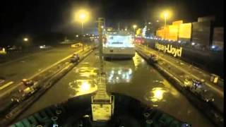 hms protector night transit of panama canal 2014