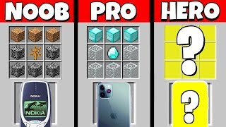 Minecraft Battle: NOOB vs PRO vs HEROBRINE: PHONE CRAFTING CHALLENGE / Animation