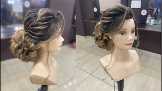 Messy low bun / advance hairstyle / front twisting wave / kuldeep hairstylist