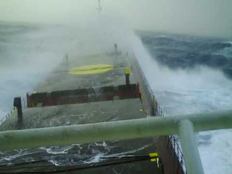 Merchant Ship In A Storm Force 10 Youtube