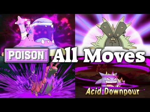 Pokémon Sun & Moon - All 27 Poison-type Moves (Full HD 60fps)