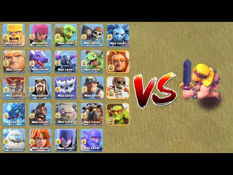 SUPER BARBARIAN VS ALL TROOPS ! WHO WILL WIN ?!! | CLASH OF CLANS
