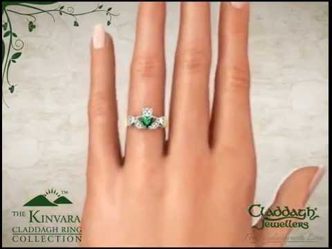The Kinvara Claddagh Ring In Yellow Gold & Emerald Hand View