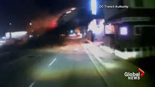 Dash cam video shows car going airborne, crashing into second-floor of dental office