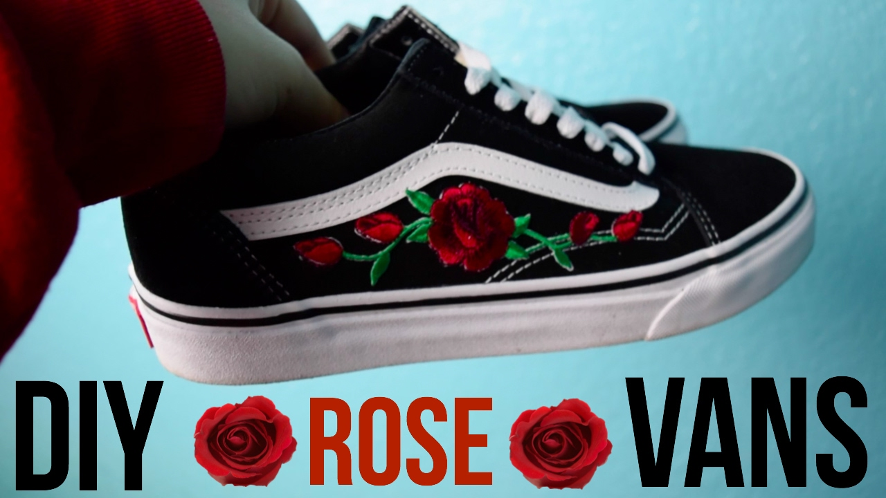 Diy Rose Patch Vans Youtube