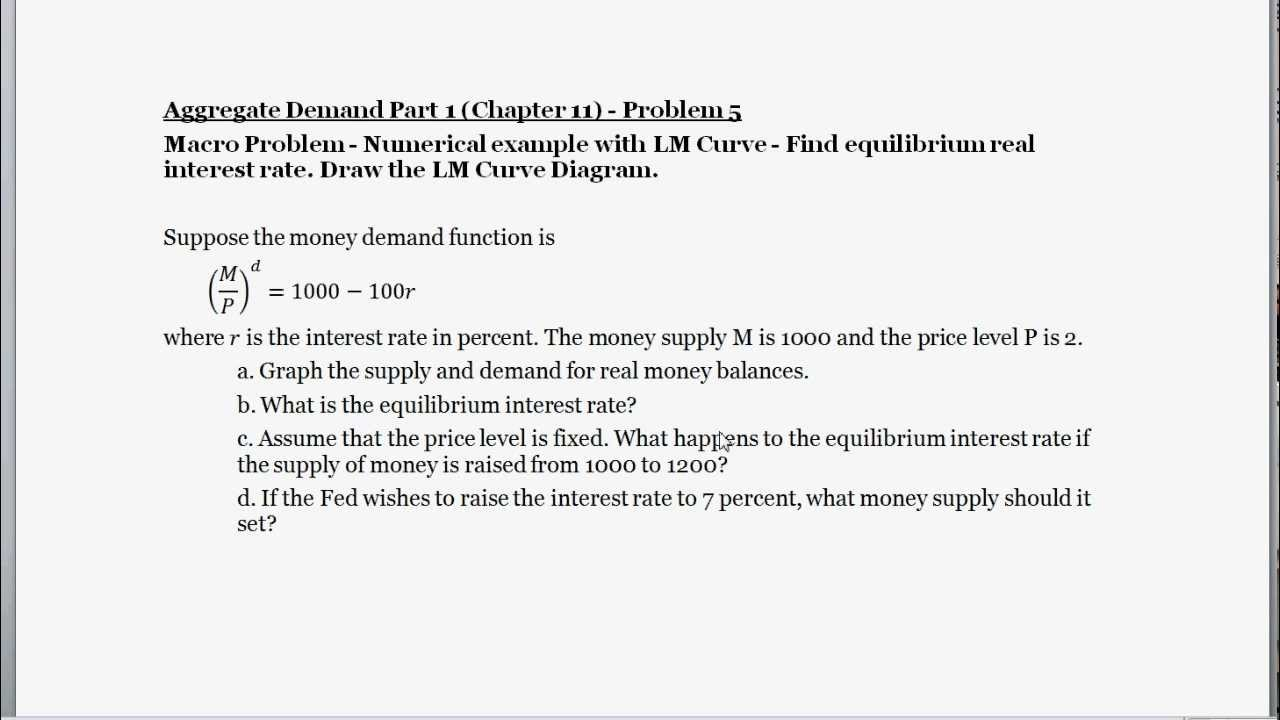 Macro Problem - Numerical Example with Money Demand and Supply ...