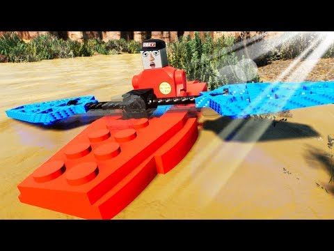 Four Best Friends Went Camping and Got Stranded on A Rushing River in Lego Brick Rigs