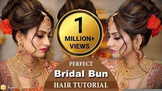 Perfect Bridal BUN Hair Tutorial | Step by Step Bridal Hairstyle Tutorial Video | Krushhh by Konica
