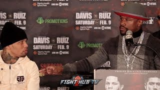 FLOYD MAYWEATHER GIVES GERVONTA DAVIS KNOWLEDGE & CAREER ADVICE IN SURPRISE PRESS CONFERENCE VISIT