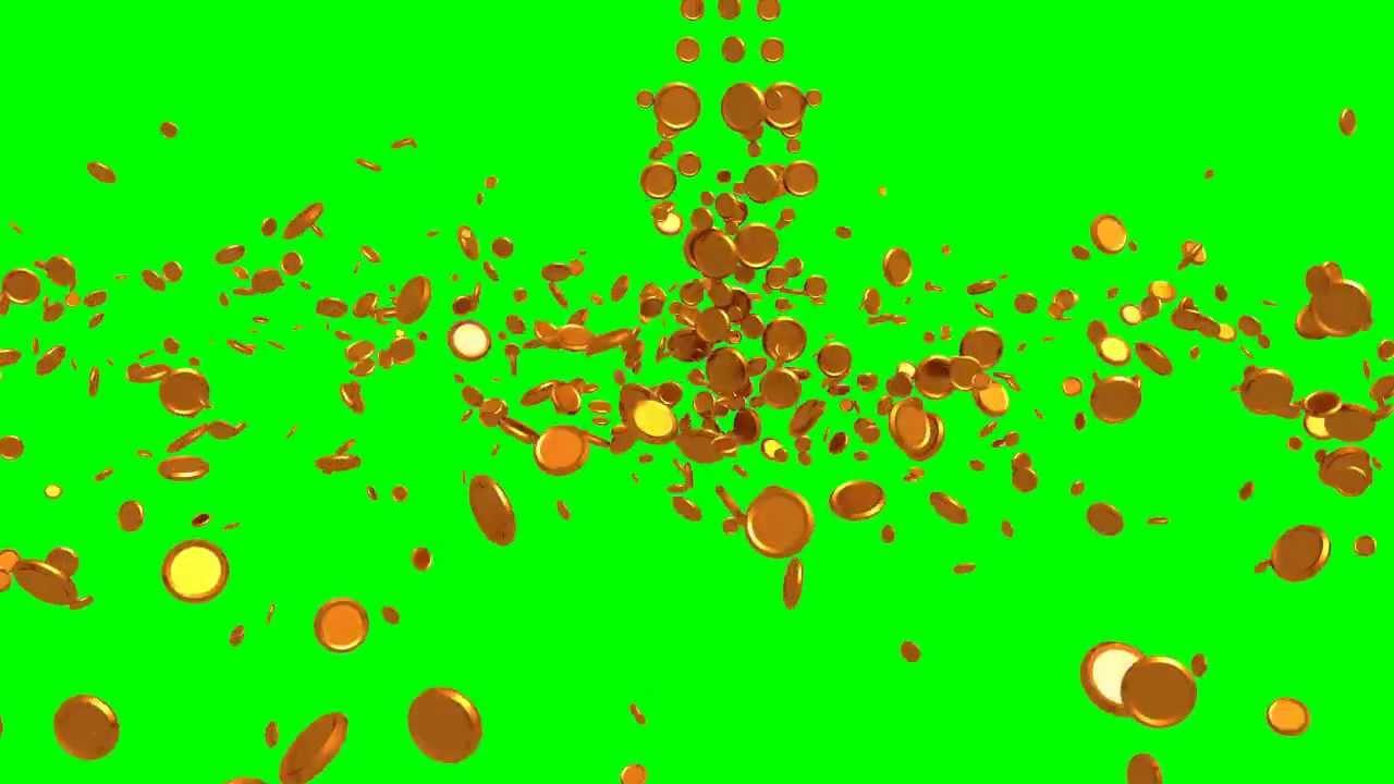 Rain Fall Live Wallpaper Falling Gold Coins Greenscreen Animation Hd Slow Motion